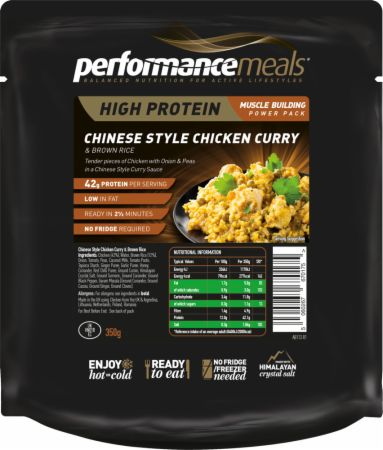 Image of Performance Meals High Protein Meal 1 x 350g Meal Chinese Style Chicken Curry & Brown Rice