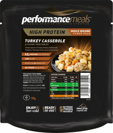 Image of High Protein Meal Turkey Casserole & Chunky Vegetables 1 x 350g Meal - Healthy Snacks & Foods Performance Meals