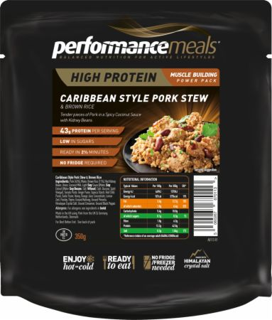 Image of Performance Meals High Protein Meal 1 x 350g Meal Caribbean Style Pork Stew & Brown Rice