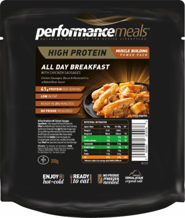 Image of Performance Meals High Protein Meal 1 x 350g Meal All Day Breakfast with Chicken Sausages