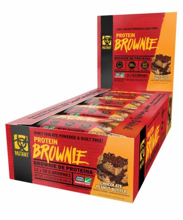 Image of Protein Brownie Chocolate Peanut Butter 12 Brownies - Desserts MUTANT