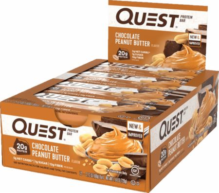 Quest Nutrition Quest Bars Chocolate Peanut Butter 12 Stevia Sweetened Bars - Protein Bars