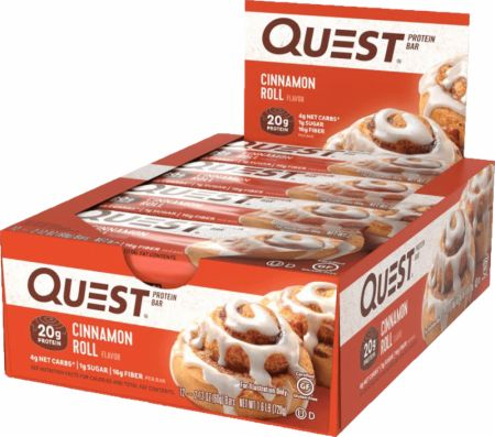 Quest Nutrition Quest Bars Cinnamon Roll 12 Stevia Sweetened Bars - Protein Bars
