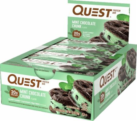 Quest Nutrition Quest Bars Mint Chocolate Chunk 12 Bars - Protein Bars
