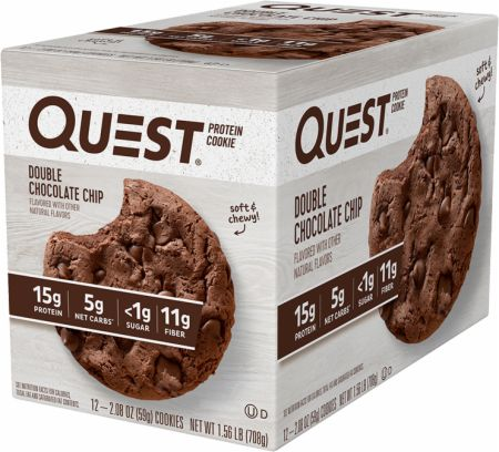 Image of Protein Cookie Double Chocolate Chip 12 Cookies - Protein Bars Quest Nutrition
