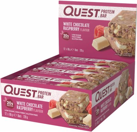 Image of Quest Bars White Chocolate Raspberry 12 x 60g Bars - Protein Bars Quest Nutrition