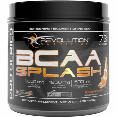 Image of Revolution Nutrition BCAA Splash 73 Servings Refreshing Orange