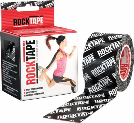 Image of RockTape Kinesiology Tape 2 inch x 16.5 Feet Black Logo
