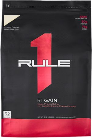 Image of R1 Gain Vanilla Creme 32 Servings - Mass Gainers Rule One Proteins