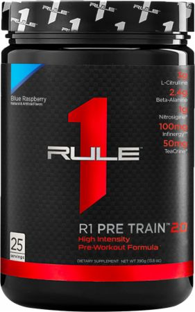 Image of R1 Pre-Train 2.0 Blue Raspberry 25 servings - Pre-Workout Rule One Proteins