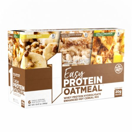 Image of R1 Easy Protein Oatmeal Maple Brown Sugar, Apple Cinnamon & Banana Nut Variety Pack - 6 Servings - Healthy Snacks & Foods Rule One Proteins