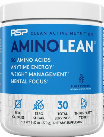 Image of AminoLean Amino Acids Blue Raspberry 30 Servings - Amino Acids + Energy RSP Nutrition