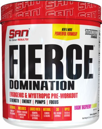 Fierce Domination Ragin' Raspberry Lemonade 30 Servings - Pre-Workout Supplements S.A.N.