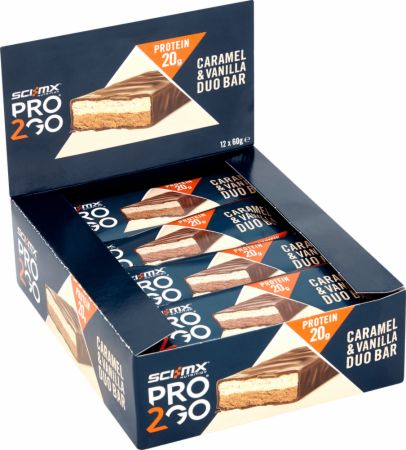 Image of Pro 2Go Duo Bar Caramel & Vanilla 12 - 60g Bars - Protein Bars SCI-MX Nutrition
