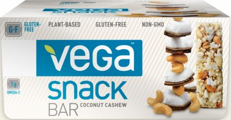 Vega Snack Protein Bar Coconut Cashew 12 - 42g Bars - Energy Bars