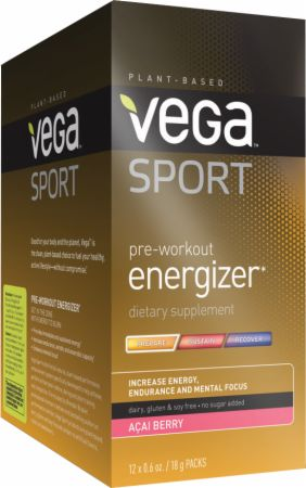 Vega Sport Pre-Workout Energizer Acai Berry 12 Packets - Pre-Workout Supplements