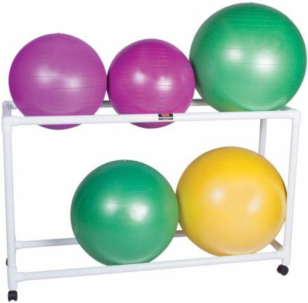 2 Shelf PVC Stationary Floor Rack for Inflatable Exercise Balls