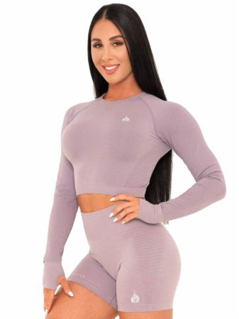 Geo Seamless Long Sleeve Crop Top