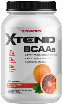 Image of Xtend BCAA Powder Blood Orange 90 Servings - During Workout XTEND