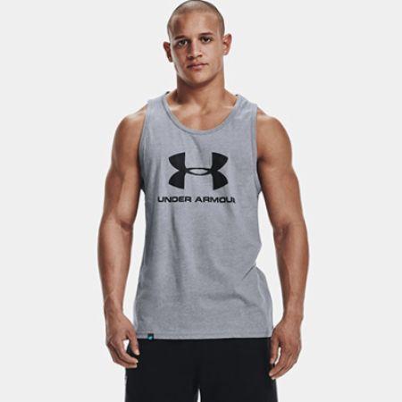 Image of Under Armour Men's UA Sportstyle Logo Tank Steel Light Heather XL - Men's Tank Tops Under Armour