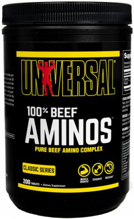 Image of 100% Beef Aminos 200 Tablets - Amino Acids & BCAAs Universal Nutrition