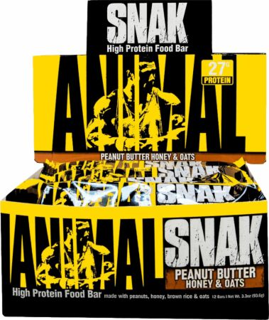 Universal Nutrition Animal Snak Bar Peanut Butter Honey & Oats 12 Bars - Protein Bars