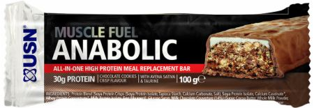 Image of USN Muscle Fuel Anabolic Bars 12 - 100g Bars Chocolate Cookies Crisp