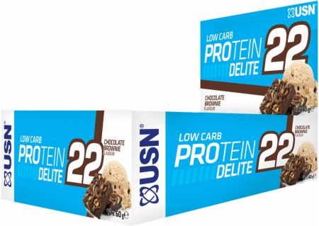 Image of USN Low Carb Protein Delite 22 Bars 12 x 60g Bars Chocolate Brownie