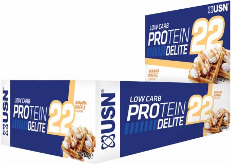 Image of USN Low Carb Protein Delite 22 Bars 12 x 60g Bars Banana Waffle