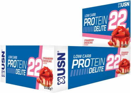 Image of USN Low Carb Protein Delite 22 Bars 12 x 60g Bars Strawberry Cheesecake