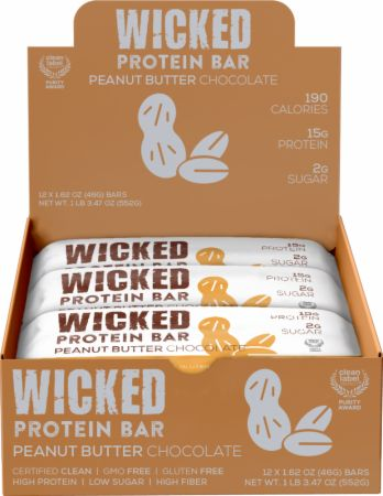 Image of WICKED Protein Bars Peanut Butter Chocolate 12 - 46g Bars - Protein Bars WICKED Protein
