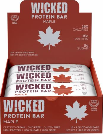Image of WICKED Protein Bars Maple 12 - 46g Bars - Protein Bars WICKED Protein