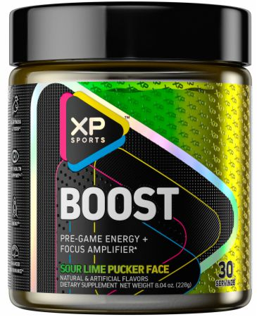 Image of Boost Pre-Game Powder Sour Lime Pucker Face 30 Servings - Nootropics XP Sports