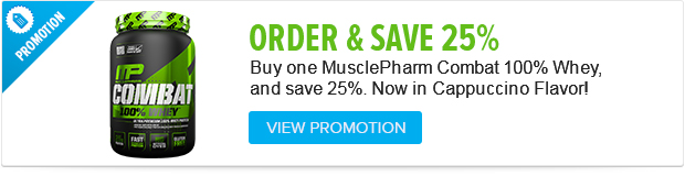 Buy 1 MusclePharm Combat 100% Whey and get 25% OFF. Hurry while supplies last