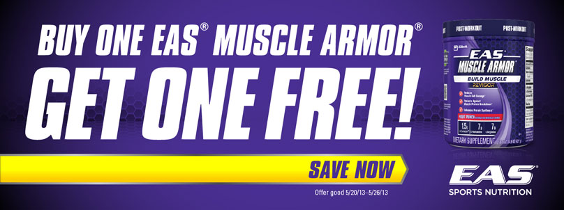 For a limited time, buy 1 EAS Muscle Armor & get 1 FREE! Hurry while supplies last!