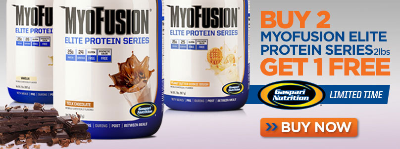 For a limited time, buy 2 Gaspari Nutrition MyoFusion Elite Protein Series, 2 Lbs. in the flavor of your choice & get 1 FREE! Hurry while supplies last!